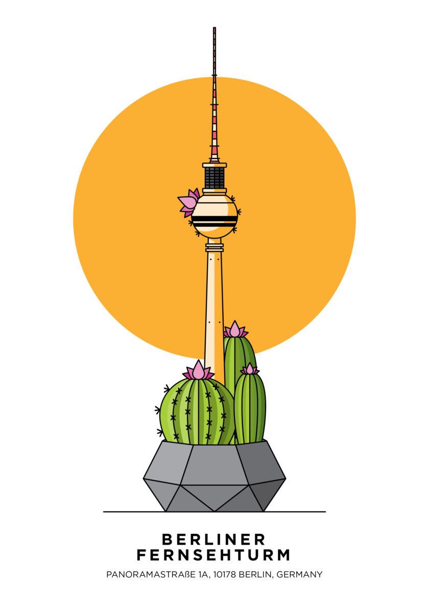 Fernsehturm, Alexanderplatz, KulaBerlin, Cactus, Sukkulent, Illustration